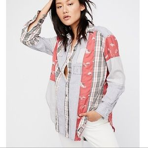 Free People All Patched Up Classic Buttondown - S